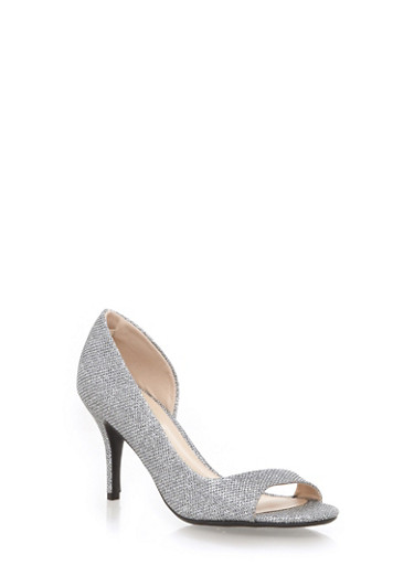 Open Toe Heels,PEWTER GLITTER,large