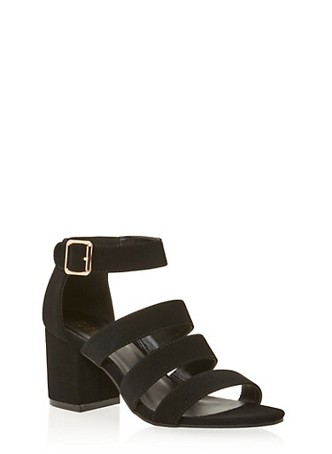 Sandals with Chunky Block Heels,BLACK,large