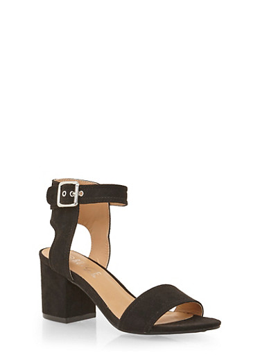 Sandals with Chunky Block Heels,BLACK SUEDE,large