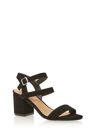 Multi Strap Sandals with Chunky Heels,BLACK NB,large
