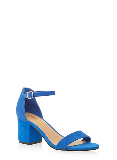 Sandals with Chunky Block Heels,BLUE  F/S,large