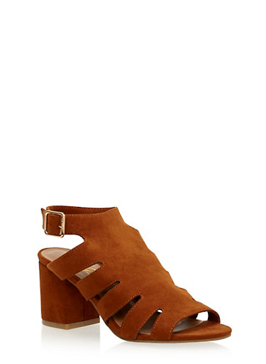 Cutout Sandals with Chunky Heels,CHESTNUT,large