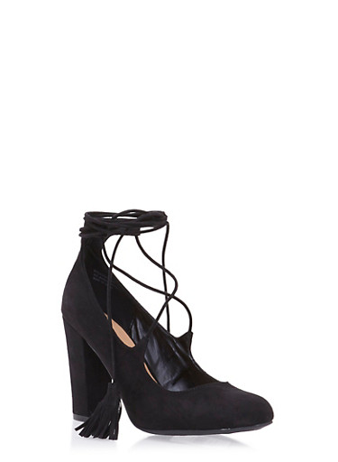 Lace Up Block Heel Pumps,BLACK,large
