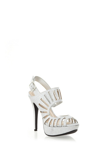 Platform Glitter Heels with Caged Cutout Front,SILVER,large
