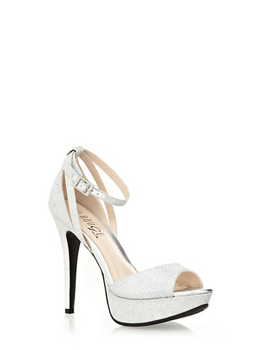 Ankle-Strap Peep Toe Platform Heels with Glitter Trim,SILVER,large