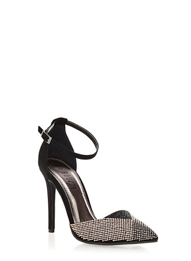 Embellished Ankle-Strap Pointy Toe Heels,BLACK,large