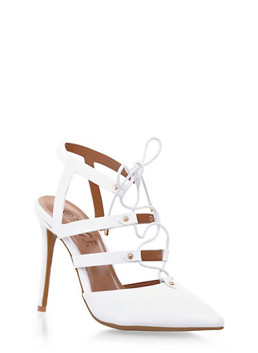 Pointy Toe Caged Heels with Lace Up Front,WHITE,large