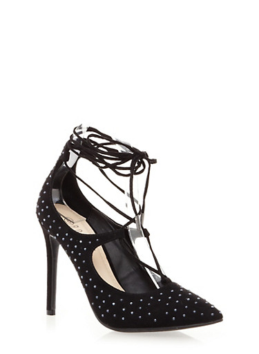 Studded Stilettos with Criss Cross Lace Up Front,BLACK,large