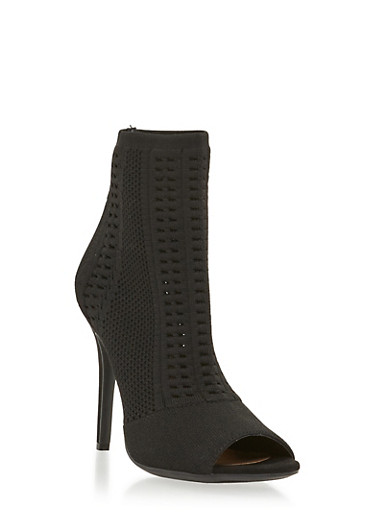 Knit Peep Toe High Heel Booties,BLACK,large