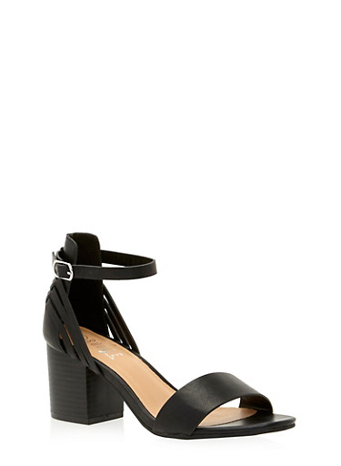 Open Toe Sandals with Block Heels,BLACK BURNISH,large