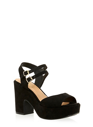 Platform Sandals with Double Ankle Strap,BLACK,large