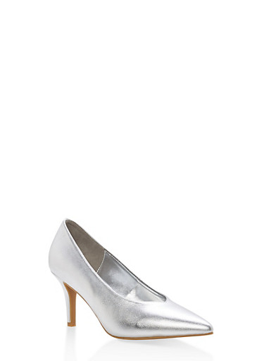 Pointed Toe Mid Heel Pumps,SILVER CRP,large