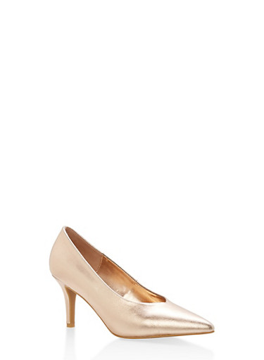 Pointed Toe Mid Heel Pumps,ROSE GOLD CRP,large