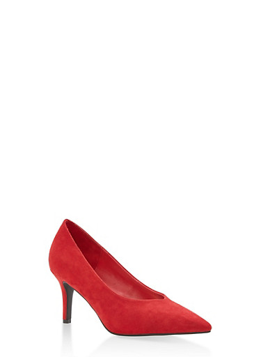 Pointed Toe Mid Heel Pumps,RED CRP,large