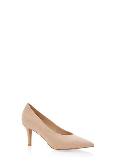 Pointed Toe Mid Heel Pumps,NUDE F/S,large