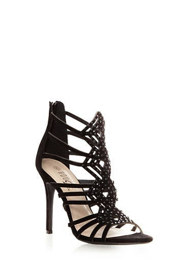 Caged Heels with Decorative Faux Jewels,BLACK,large