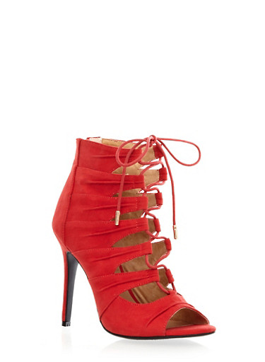 Suede Lace-Up Caged Stilettos,RED,large