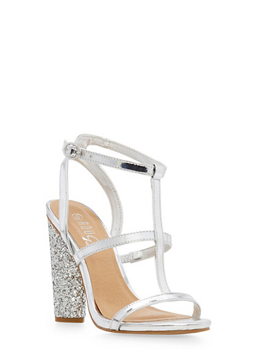 T Strap Glitter High Heel Sandals,SILVER PATENT,large