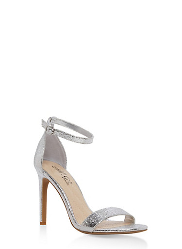 High Heel Ankle Strap Sandals,SILVER CMF,large