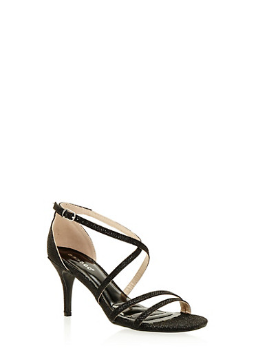 Strappy Mid Heel Sandals,BLACK,large