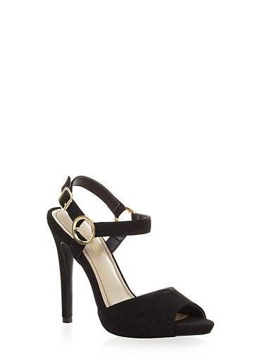Peep Toe High Heels with Ring Accented Ankle Strap,BLACK,large
