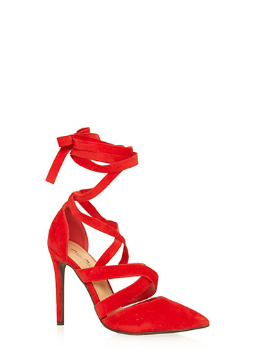 Faux Suede Lace Up High Heel,RED,large