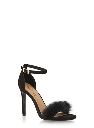 High Heel Sandals with Fur Toe Strap,BLACK F/S,large