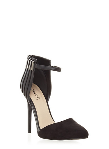 Ankle Strap Heels with Pointed Toe and Metal Accents,BLACK,large