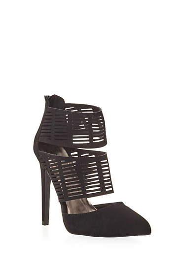 Cutout Bootie Heel with Pointed Toe,BLACK,large