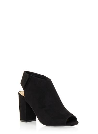 Faux Suede Open Toe Slingback Heels,BLACK,large