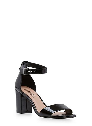Mid Heel Ankle Strap Sandals,BLACK PATENT,large
