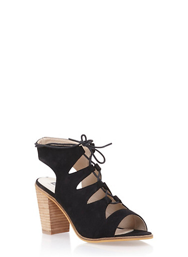 Lace Up Sandals with Chunky Stacked Heels,BLACK,large