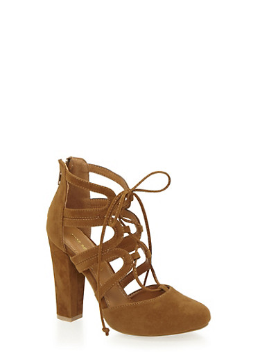 Lace Up Sandals with Covered Heels,CHESTNUT F/S,large
