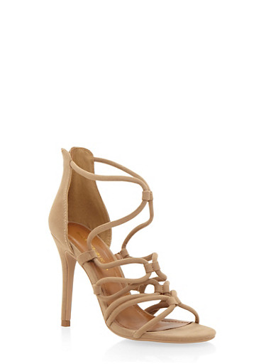 Strappy Sandals with Stiletto Heels,CAMEL,large