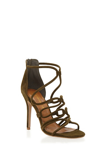 Strappy Sandals with Stiletto Heels,OLIVE,large