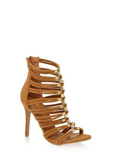 Cage Ankle Heels with Metallic Loop Embellishments,CHESTNUT F/S,large