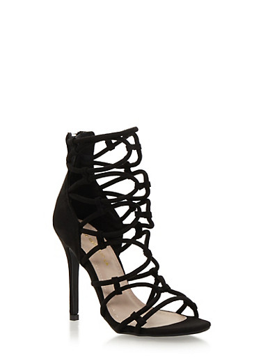 Strappy High Heel Sandals,BLACK,large