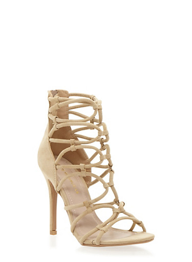 Strappy High Heel Sandals,NUDE,large