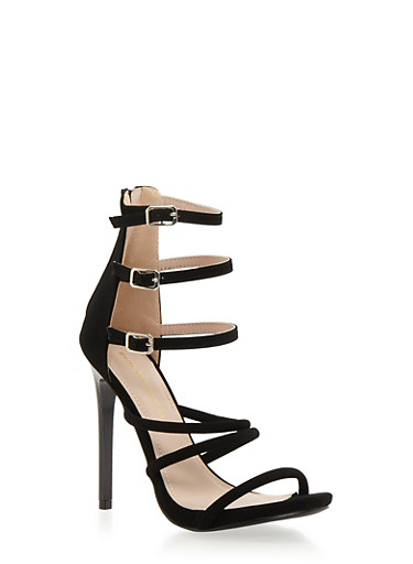 Strappy Three Buckle Sandals with Stiletto Heels,BLACK,large