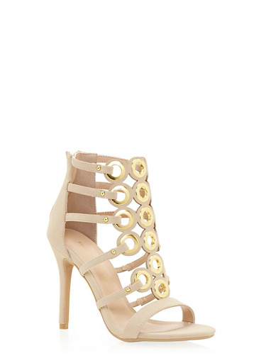 Cage Sandals with Oversize Grommet Accents,NUDE F/S,large