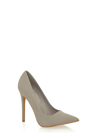 Pointed Toe Pumps,LT GRAY,large