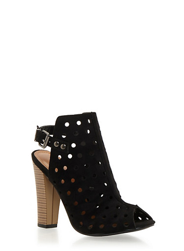 Perforated Peep Toe Slingback Heels,BLACK,large