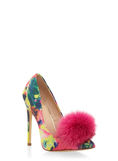 Printed Pointed Toe Pumps with Pom Pom,PINK MULTI,large