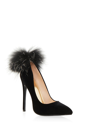 Velvet Pointy Toe Pumps with Fur Pom Pom,BLACK,large