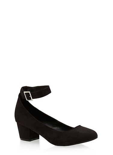 Pointed Toe Ankle Strap Heels,BLACK,large