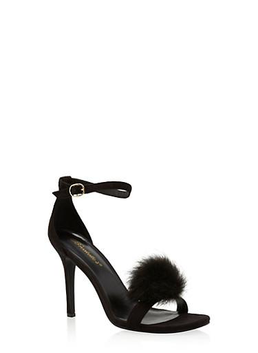 High Heel Stilettos with Pom Pom Detail,BLACK,large