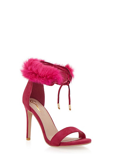 Lace Up High Heel Sandals with Faux Fur,FUCHSIA,large