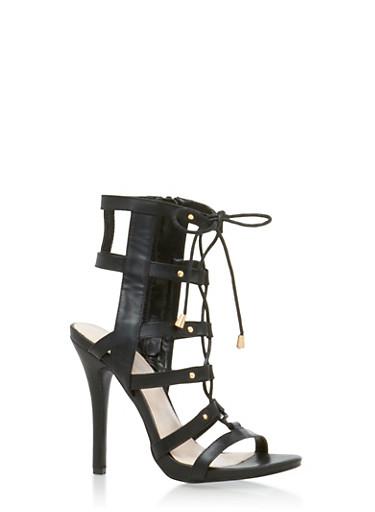 Lace Up Caged High Heel Sandals,BLACK,large