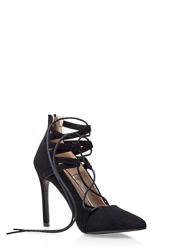 Pointed Toe Lace Up High Heels,BLACK,large