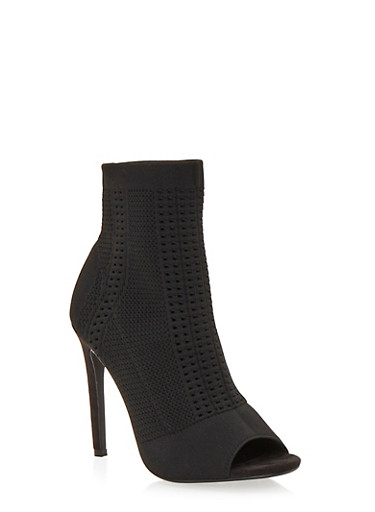 Knit Peep Toe Ankle Booties with Stiletto Heel,BLACK,large